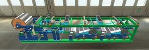 低成本双核心硅酸钙板生产线主机,在单核制板主机的基础上增加一组长网增压器、长网喷浆机、小料层成型机组成是高产能的要点。