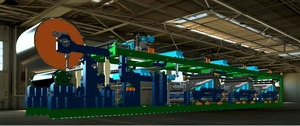 长网实业研发的多功能硅酸钙板生产线,使用三核制板主机并增加相应的辅机如:长网储浆机、FBS均浆机等,为规模化生产同板不同色、同板不同料的中大型企业设备。